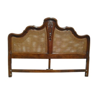 Vintage King Size Bed Headboard With Cane Panels