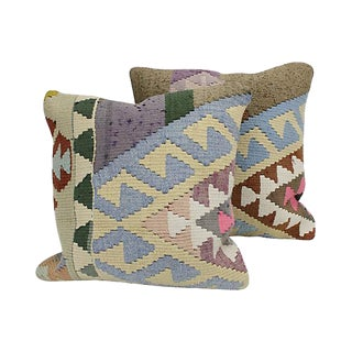 Turkish Geometric Kilim Throw Pillows- A Pair