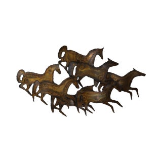 Curtis Jere Mid Century Metal Wall Sculpture of Horses Running