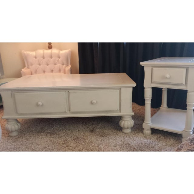 Gray Shabby Chic Coffee Table With Drawers