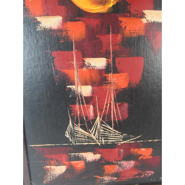 Image of Mid-Century Abstract of Ships at Night