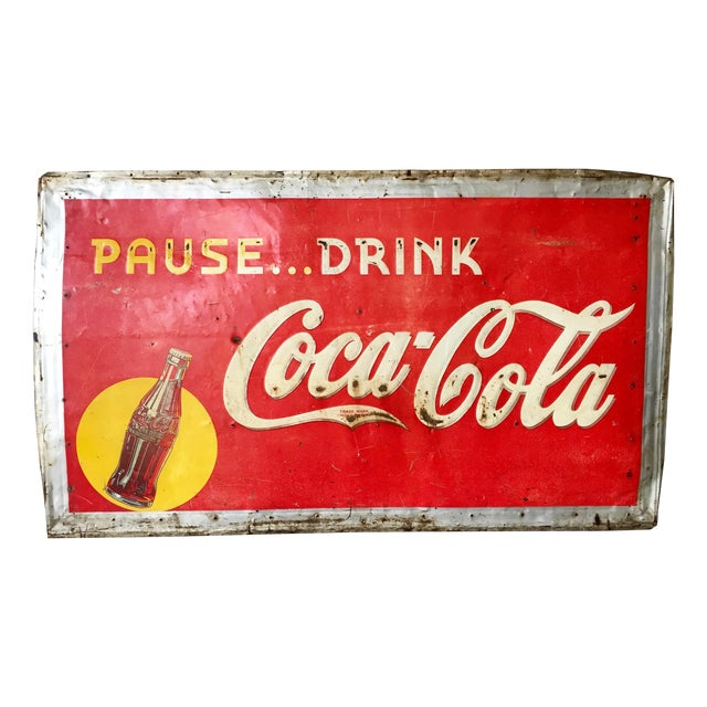 Vintage 1940s Original Metal Coca Cola Sign - Image 1 of 10