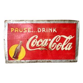 Vintage 1940s Original Metal Coca Cola Sign