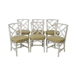 Custom Set of 6 White Painted Bamboo Frame Dining Chairs