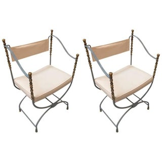 Zinc Grey & Gold Savonarola Chairs - A Pair