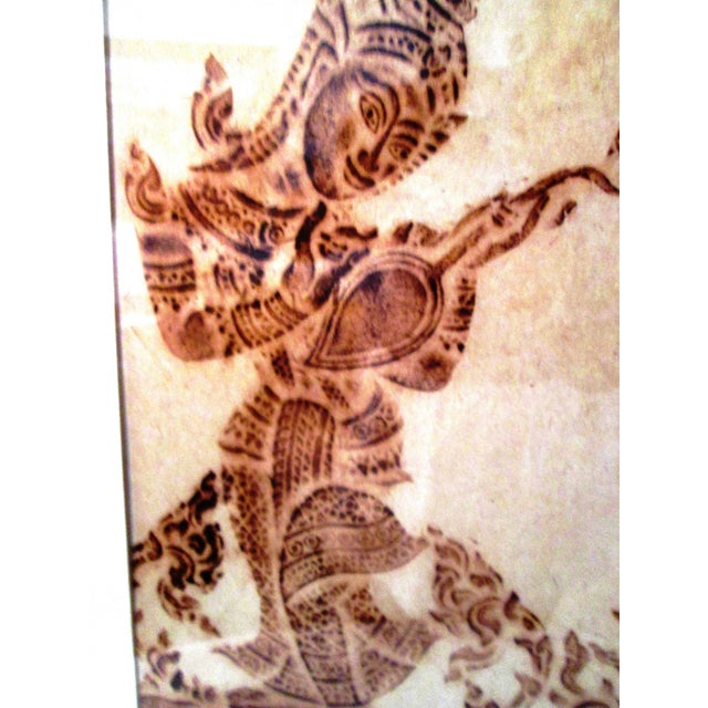 Mid-Century Thai Temple Rice Paper Rubbings - A Pair - Image 4 of 9