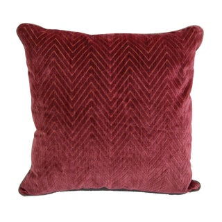 "Scalamandré Red ""Fire Stitch"" Velvet Pillow"