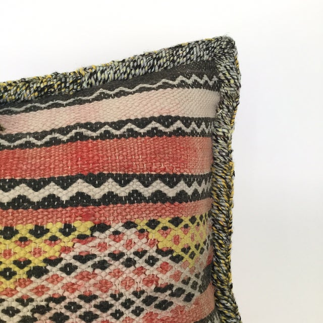 Moroccan Berber Vintage Kilim Wool Pillow - Image 3 of 5