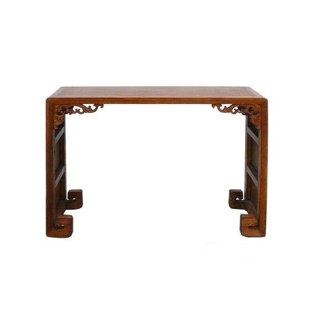 Image of Chinese Elm Wood Bamboo Scroll Console Table
