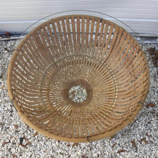 Vintage Rattan Fish Basket Coffee / Side Table - Image 3 of 6