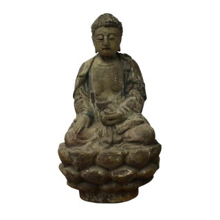 Chinese Rustic Wood Sitting Buddha Statue