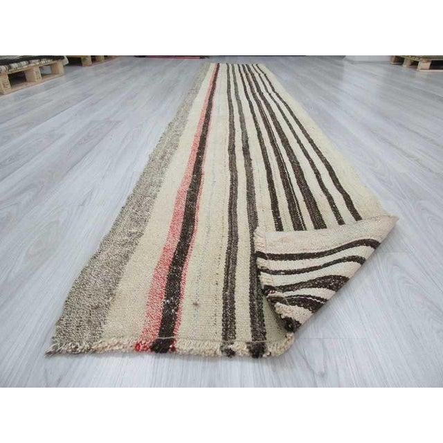 Handwoven Vintage Black Striped Turkish Kilim Runner Rug