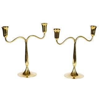 Hagenauer Werkstatte Wein Brass Candleholders