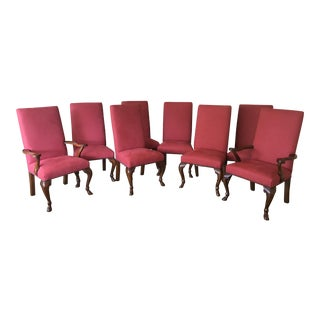 Ralph Lauren Red Fabric Dining Chairs - Set of 8