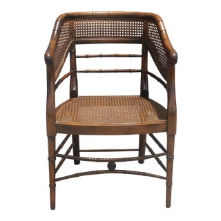 Mid-Century Caned Bamboo Style Campaign Chair
