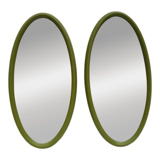 Bassett Mirror Company Wood Frame Oval Mirrors - A Pair