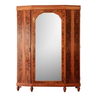 Vintage French Art Deco Burl Wood Mirrored Front Knockdown Wardrobe