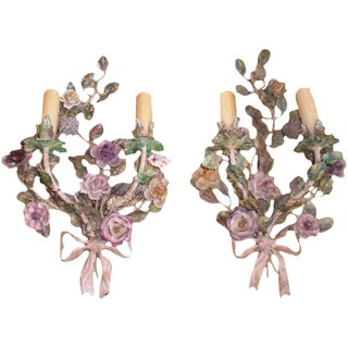 Italian Tole & Porcelain Sconces - A Pair