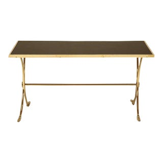 French Solid Brass & Black Coffee Table