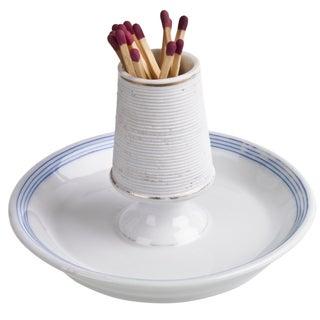 Vintage French Blue White Porcelain Match Striker