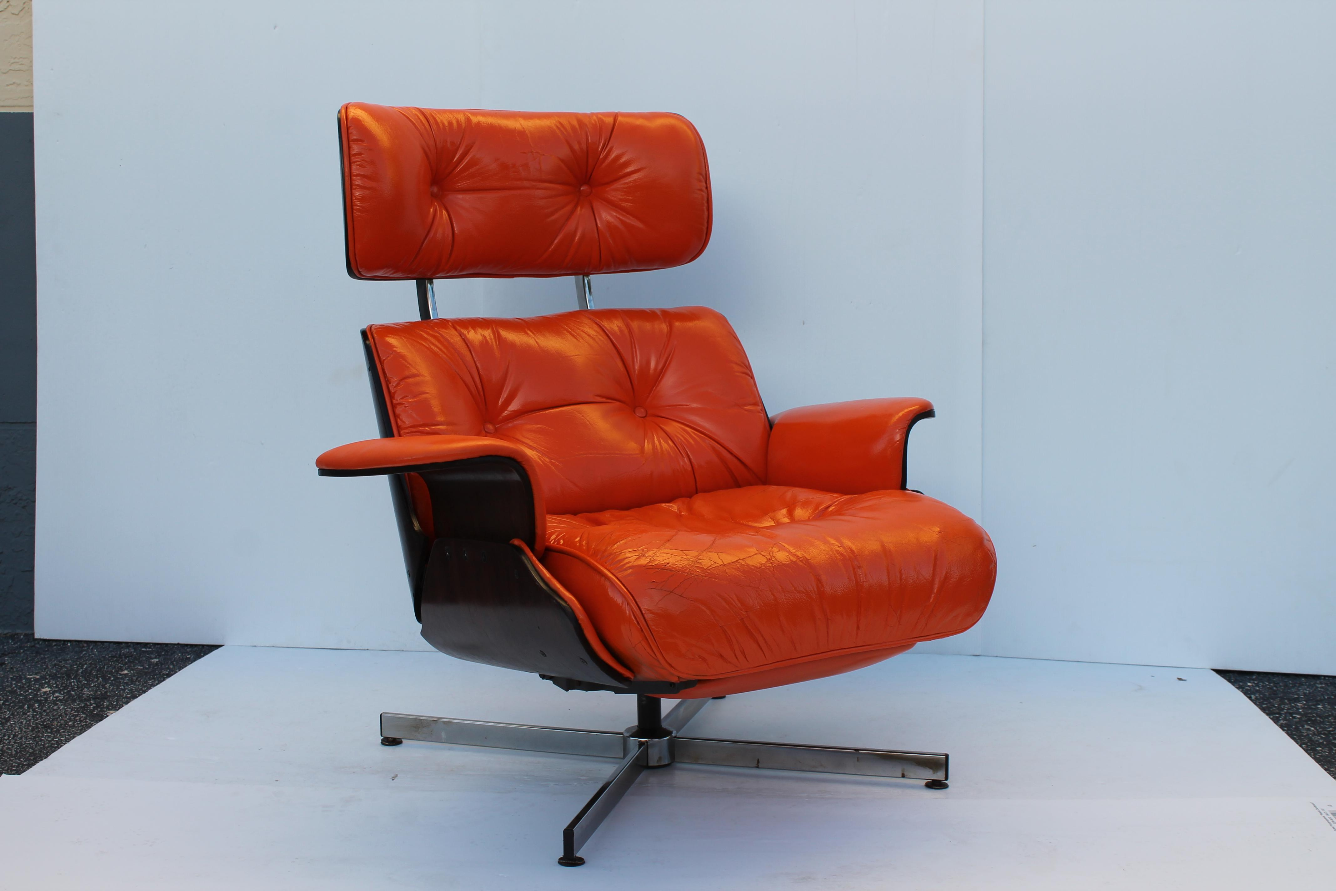 Rare Mid Century Modern Eames Style Recliner  Hermes  Orange Leather Lounge Chair - Image  sc 1 st  Chairish & Rare Mid Century Modern Eames Style Recliner