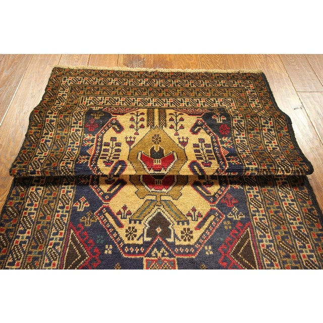 "Navy Blue Tribal Afghan Balouch Rug - 3'1"" x 9'2"" - Image 7 of 8"