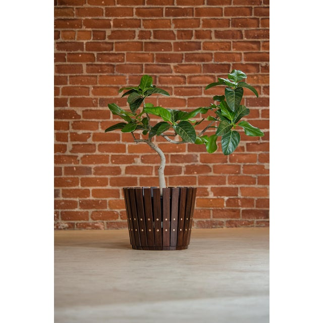 Customizable Plantum Stained American Hardwood Modular Planter Cover with Brass Rivets - Image 3 of 3
