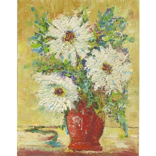 Vintage Still Life Palette Knife Painting of Flowers