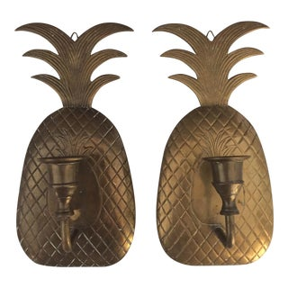 Vintage Brass Pineapple Sconces - A Pair