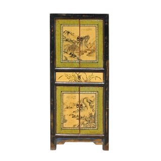 Chinese Oriental Green Creamy Black Scenery Slim Storage Cupboard Cabinet