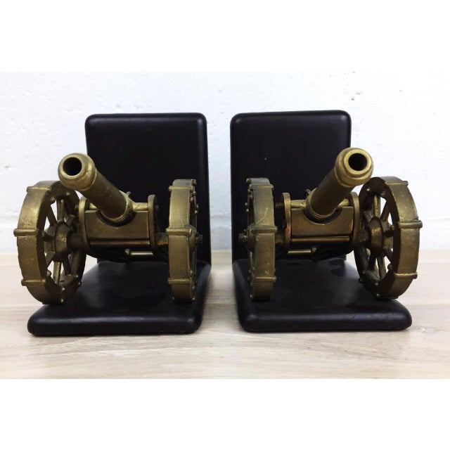 Antique Artillery French Leather & Bronze Bookends - A Pair - Image 7 of 11