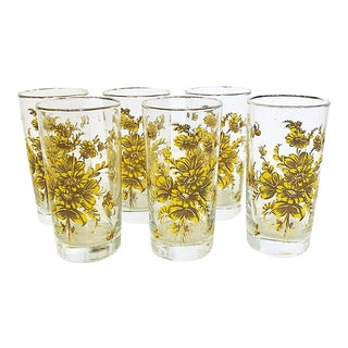 Yellow Floral Highball Glasses- Set of 6