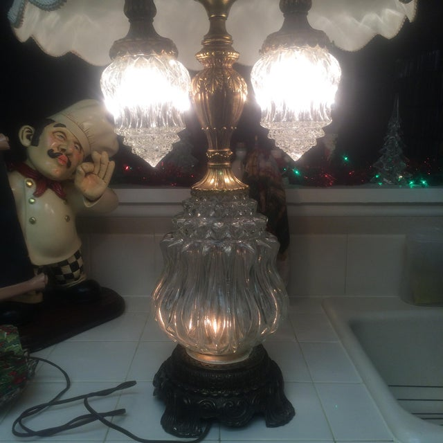 Vintage Brass & Crystal Lamps - Pair - Image 4 of 11