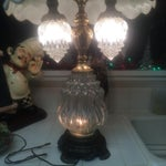 Image of Vintage Brass & Crystal Lamps - Pair