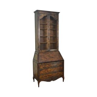 French Louis XV Style Vintage Walnut Bookcase Top Secretary Desk