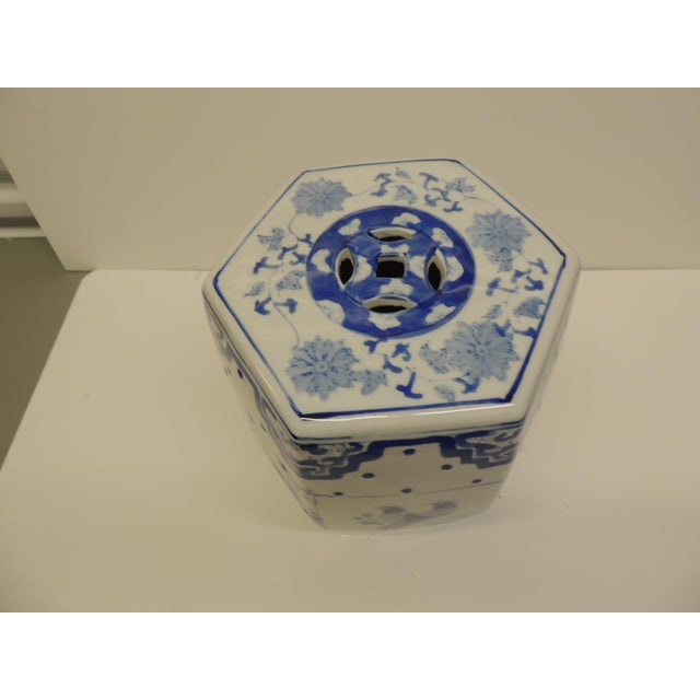 Vintage Blue and White Floral Mini-Garden Stool - Image 3 of 7