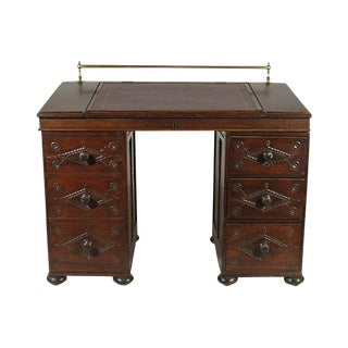 19th Century French Oak Bretton Schoolmaster's Desk
