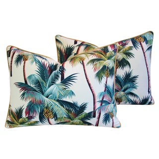 Designer Tropical Coconut Palm Tree Feather/Down Pillows - Pair