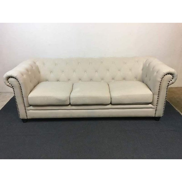 White Tufted Chesterfield Sofa - Image 2 of 9