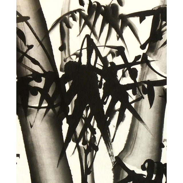Chinese Bamboo Black and White Painting - Image 2 of 3