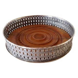 Basket Weave Silver Wine Coaster