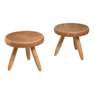 Charlotte Perriand pair of low ash stools, France, 1950s