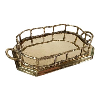 Octagonal Brass Tray with Bamboo Rail