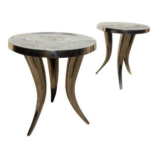 Rustic Metal Tusk Tables - A Pair