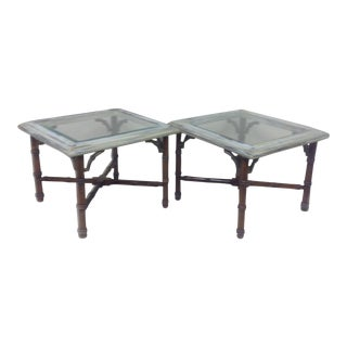 Mid Century Lane Faux Bamboo & Brass Tables - Pair