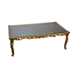 Quality French Carved Gilt Wood Faux Bois Glass Top Coffee Table