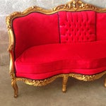 Image of Louis XVI Sofa/Settee in Red Fabric & Gold Wood