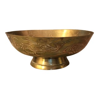Etched Dragon Brass Chinese Decorative Bowl