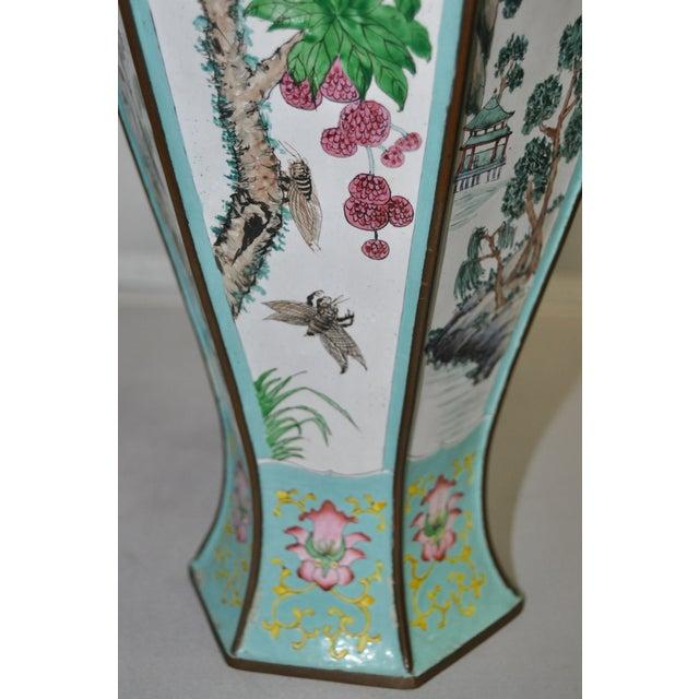Early 20th Century Hexagonal Enameled Copper Vase - Image 6 of 6