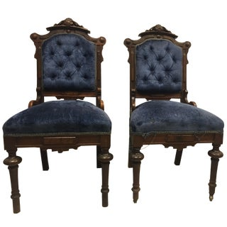 Antique Eastlake Victorian Parlor Chairs - A Pair